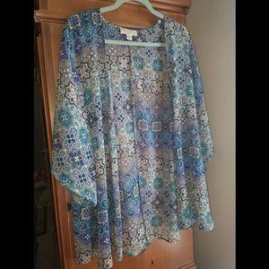 Forever 21 Plus Blue Patterned Kimono 2X/3X